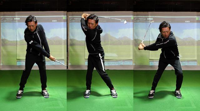 画像: 「チャー」でフォワードプレスし(左 ※動きはイメージ)、「シュー」でトップまでクラブを上げ、「メン」で左足を踏み込んで切り返す(右)