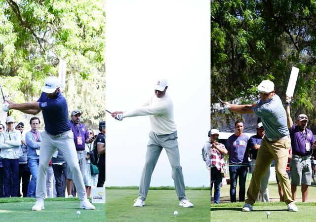 画像: 左から頭を右ひざの上に置く右軸タイプのダスティン・ジョンソン、センター軸のタイガー、左に軸を置くデシャンボー(写真/姉崎正)