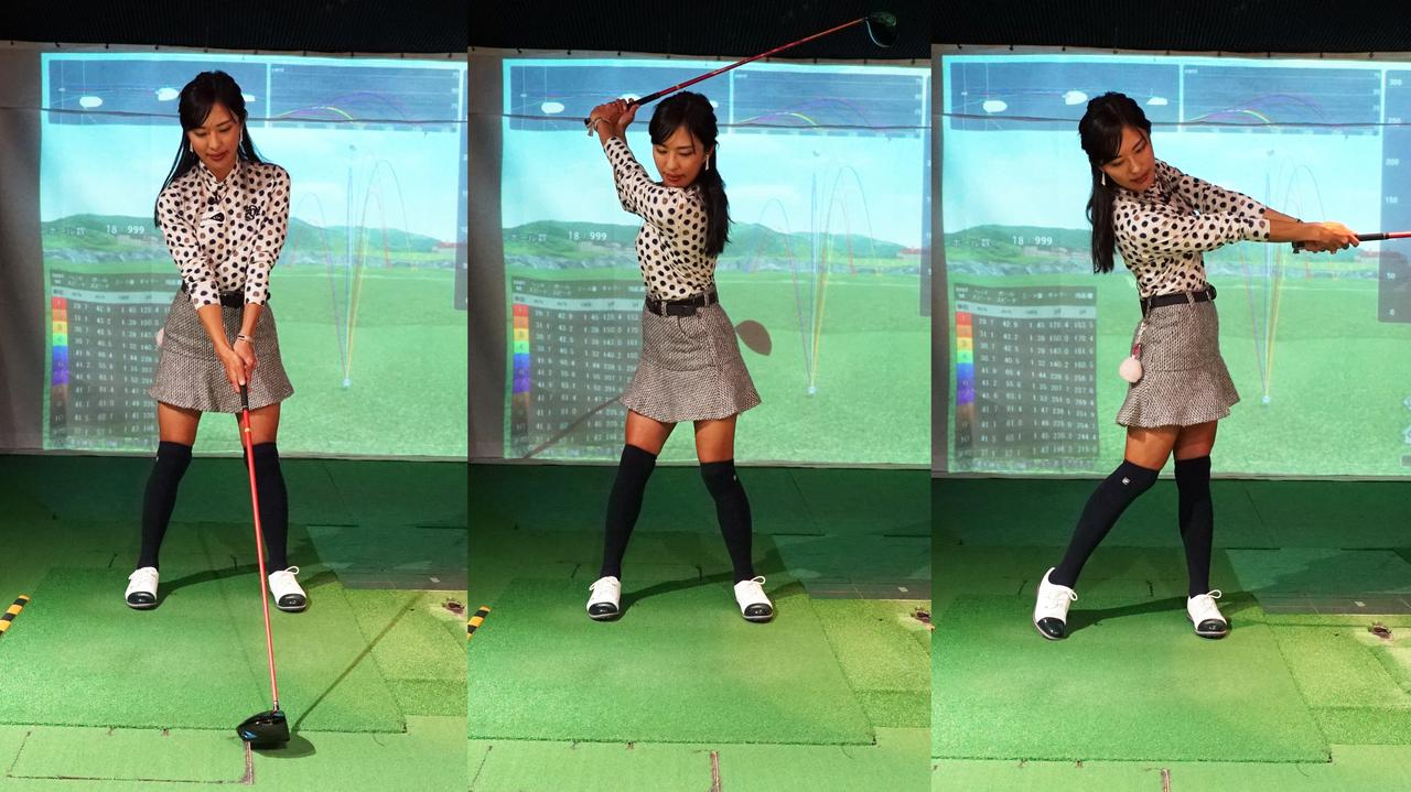 画像: 軸のブレない正しいスウィング。左腕はフォロースルーまでほぼまっすぐな状態を保っている
