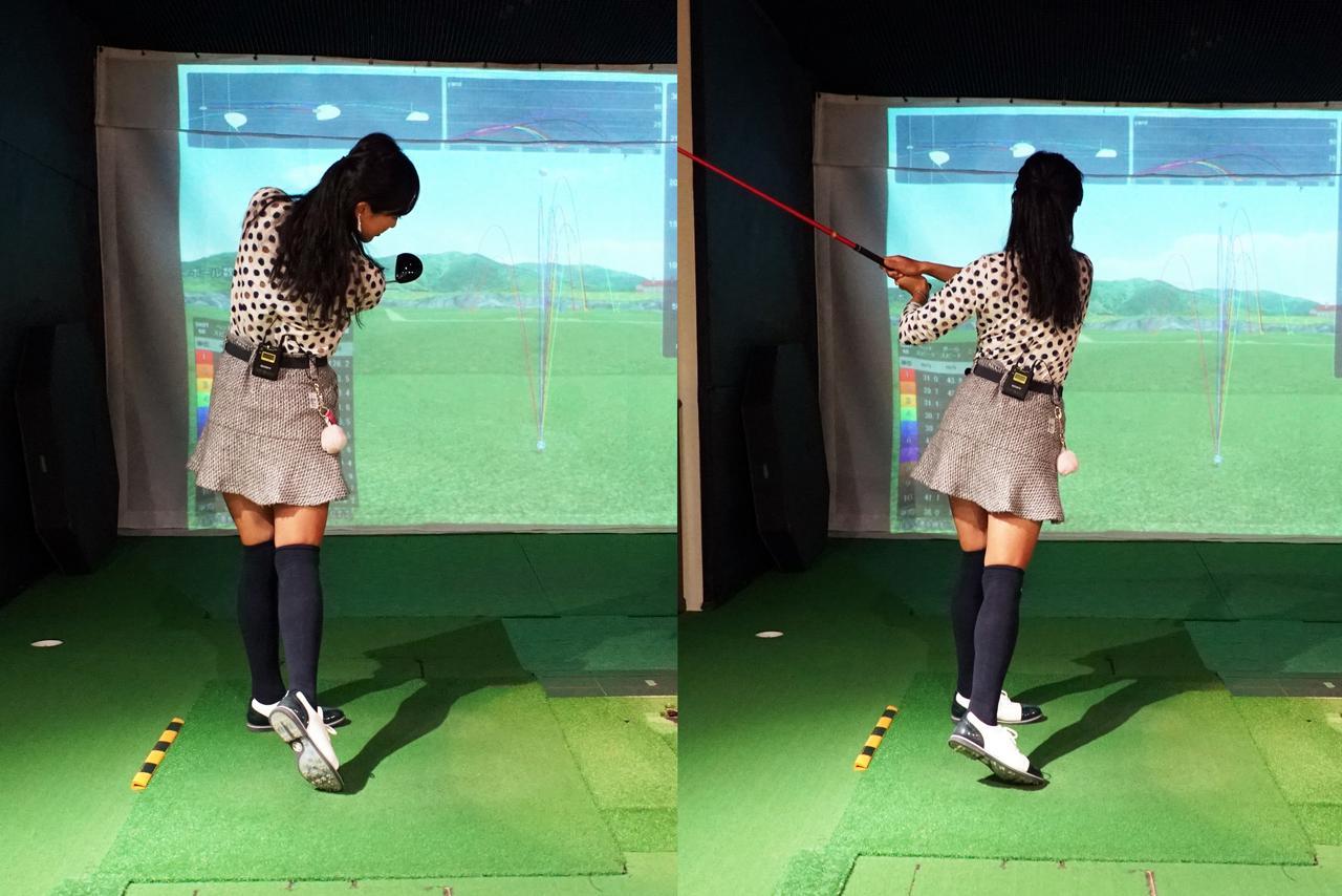 画像: 正しいフォロースルー(左)と間違ったフォロースルー(右)。ヘッドがターゲットをまっすぐ向いていればOK