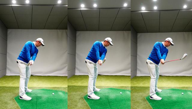 画像: テークバックでクラブが地面と平行になった位置で比べると、左から左軸タイプはややインサイドに上がり、センタータイプは平行、右軸タイプはやや外目に上がる