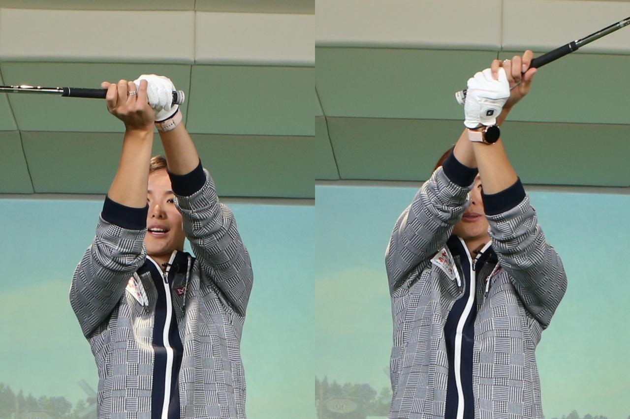 画像: 写真B:バックスウィングで両腕を自分からみて時計回りに回し(左)、バックスウィングで反時計回りに回す動きが加わると(右)、より飛ばせるという