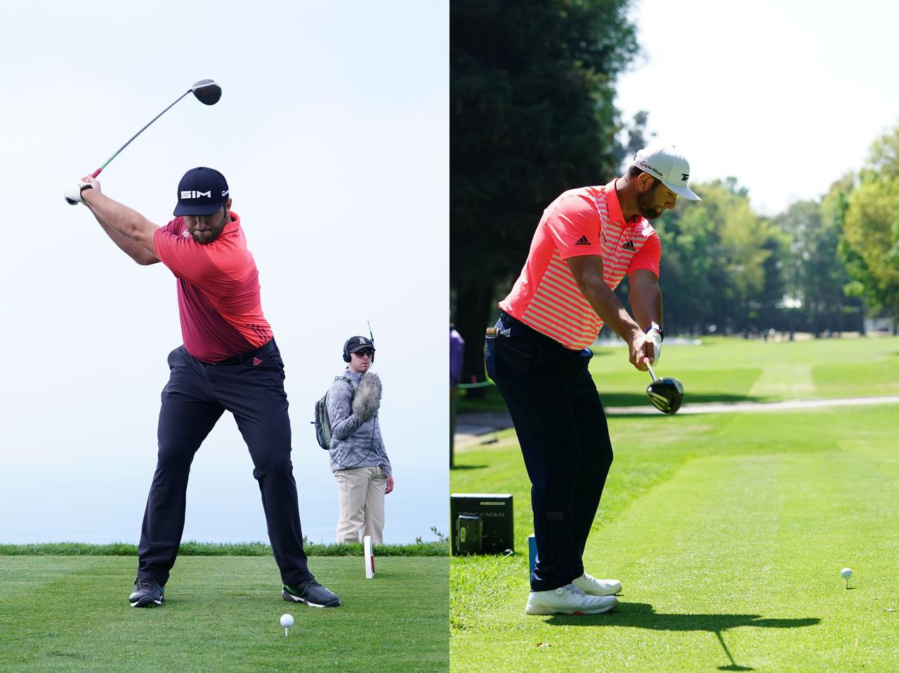 画像: ショートバックスウィングが特徴的なジョン・ラーム。写真左はトップだが、縦コックの動作が入っていないことがよくわかる