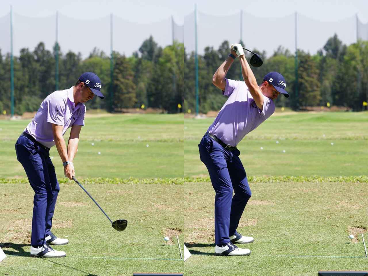 画像: 肩を縦に回し遠心力を使っていくジャスティン・トーマス(写真は2020年のWGCメキシコ選手権 撮影/姉崎正)