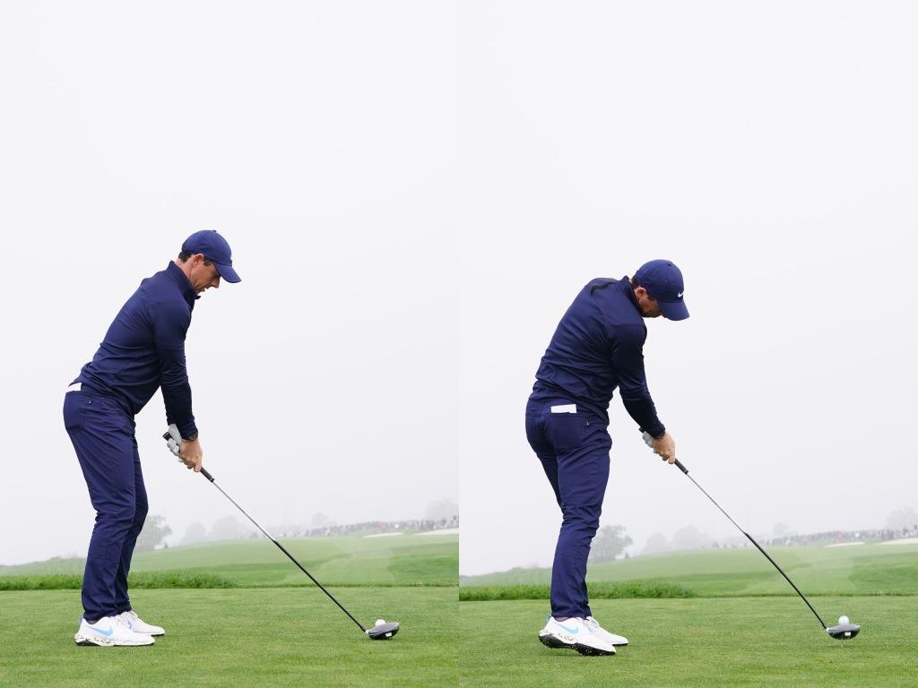 画像: アドレス(左)とインパクト(右)の写真を見比べてみると右サイドを曲げる動きが少ないのがわかる(写真は2020年のファーマーズインシュランスオープン 撮影/姉崎正)
