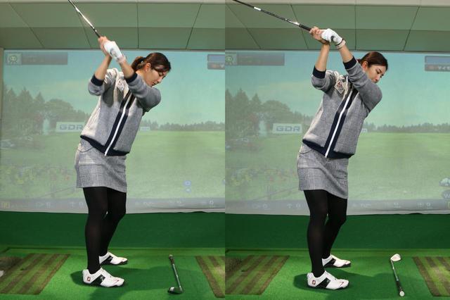 画像: 写真A:高島が教えてくれたチェックポイントをもとにクラブをトップまで上げた状態(左)と、高島の実際のトップ位置(右)