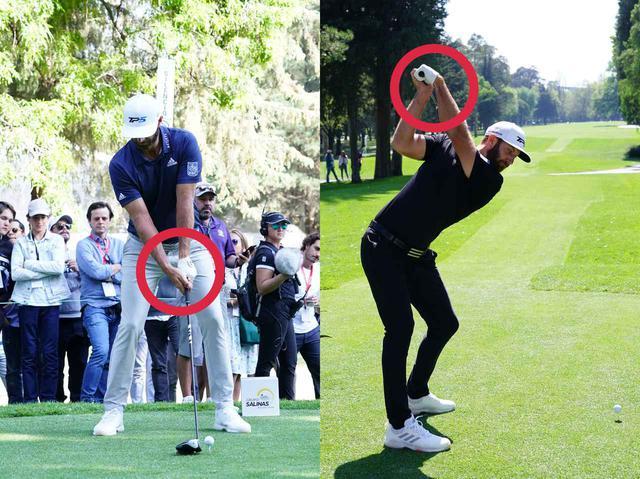 画像: ダスティン・ジョンソンの特徴はフックグリップ(写真左)と左手の平側に折るシャットフェース(写真右)(写真は2020年のWGCメキシコ選手権 撮影/姉崎正)