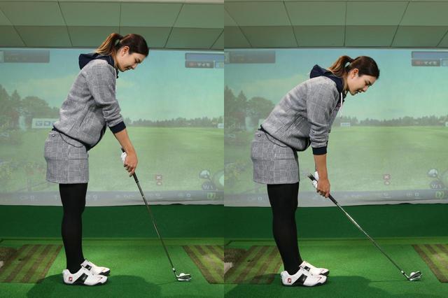 画像: 左腕のポジションやクラブと体の距離が遠ければ、つま先体重となって、つま先体重に(左)。逆に近ければかかと体重になってしまう(右)