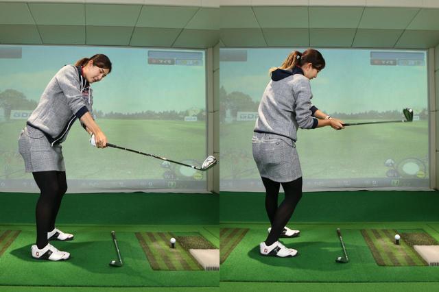 画像: クラブをボールに当てようとして体全体が左サイドに傾いてしまったり(左)、ダウンスウィングでも肩・腰を意識的に回そうとしてアドレス時の位置を通り越すほど回ってしまう(右)。この2つは初心者によく見られるダウンスウィングのミスだという