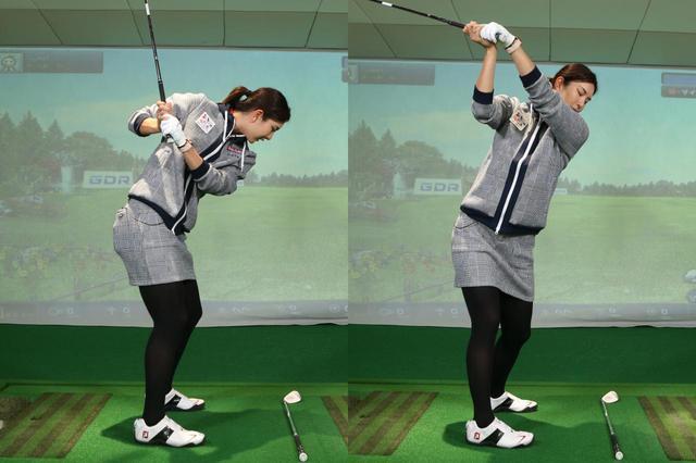 画像: ボールを見ようとし過ぎると、肩や腰が上手く回らない(左)。まずは肩・腰を横へ回す意識を持とう(右)