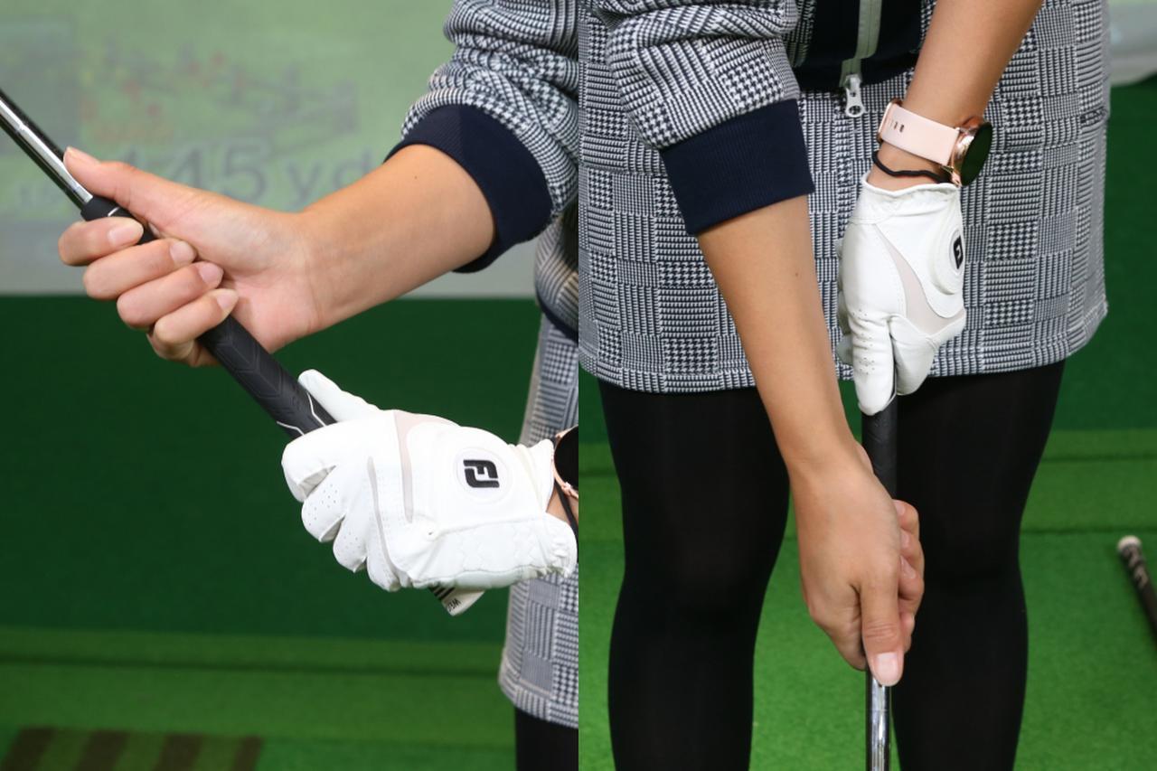 画像: クラブの握り方自体は普段と同様だが、左手と右手を拳一個ぶん間隔を空けるのがスプリットハンドグリップ。左手が使いづらくなり、右手の操作性が上がる握り方となっている