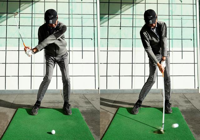 画像: 腰の位置で止める動作を2回繰り返し3回目で下半身をインパクトまで回転させることでしならせたシャフトの力を開放しインパクトでは逆しなりする感覚が体感できる