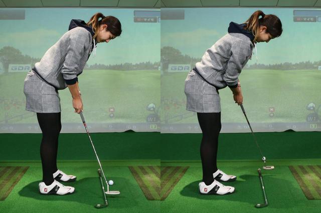 画像: 練習の際は打ちたい方向に合わせてクラブやシャフトなどを地面に置いておくと、ヘッドを直線的に動かす意識を持ちやすい