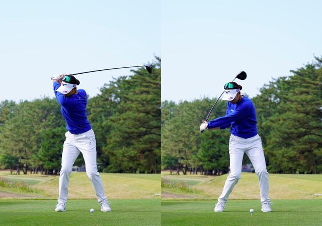 画像: 右肩がはっきり見える深いトップ(左)から、切り返しで大きな捻転差をつくる(右)(写真は2020年にLPGAツアーチャンピオンシップリコーカップ 写真/岡沢裕行)