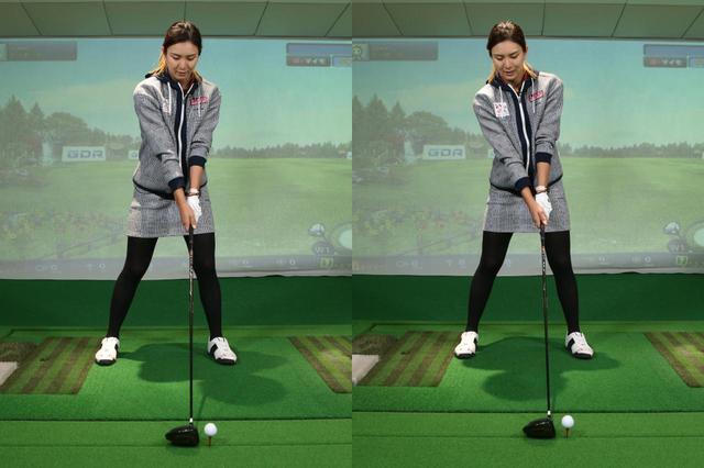 画像: 右肩を下げないままにすると、右肩が前に出過ぎて正しく構えることができない(左)。右肩を左肩よりもやや下げてバランスを取ろう(右)