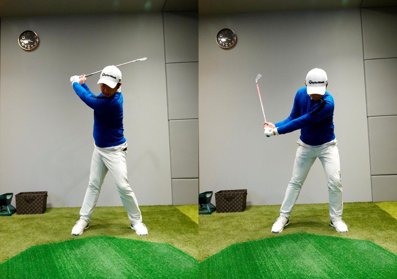 画像: 左軸タイプは左足で地面に圧力をかけ左腰、左肩を引き上げるように意識する