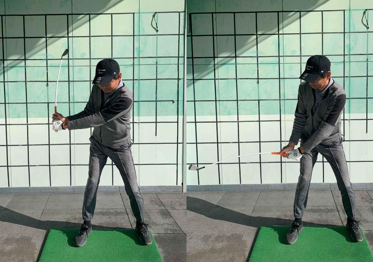 画像: トップから切り返しシャフトが地面と平行になる位置で止める動作を何度か繰り返すことで、しなりと逆しなりを体感できる