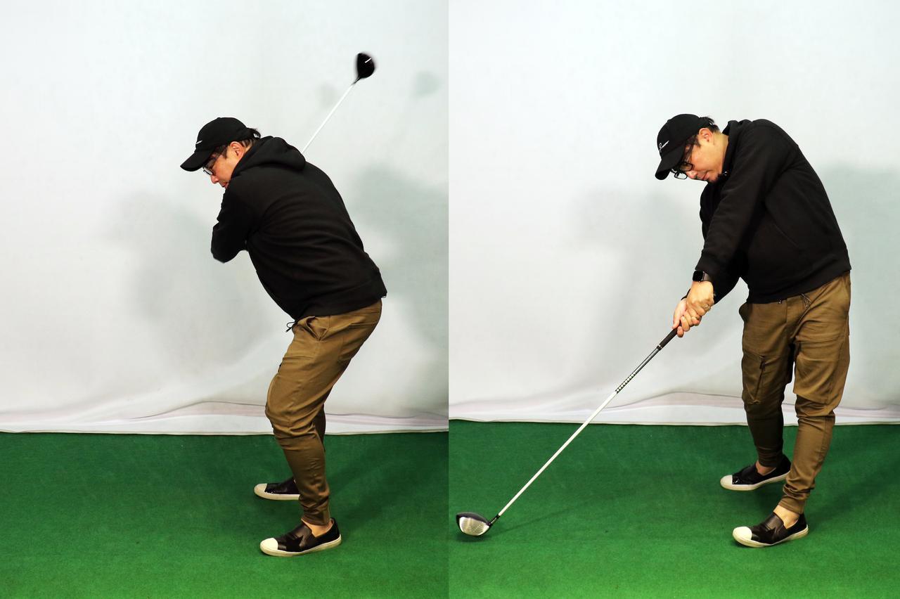 画像: 正しい切り返しからインパクトまでの動き。インパクトの瞬間に左足かかと方向に左足を踏みこむことで腰が回転し左足は伸び上がっている