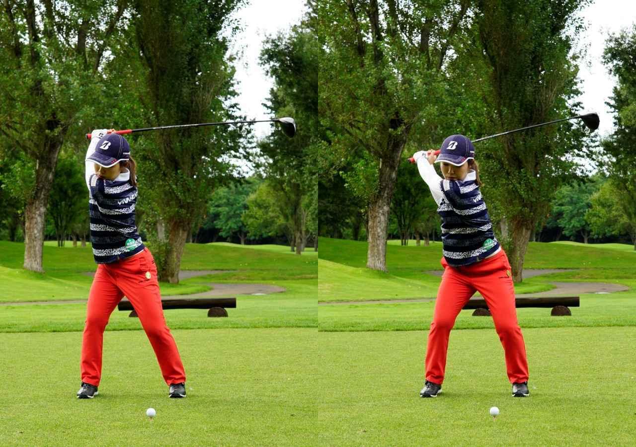 画像: トップ(左)と切り返し(右)。左ひざを戻す動きをきっかけにダウンスウィングに移行しているのがわかる(写真は2020年のニトリレディス 写真/代表撮影上山敬太)