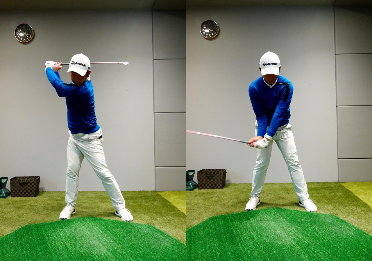 画像: 右軸タイプは左への移動は少なく右足に圧力をかけながら右軸を保ったまま回転するように意識する