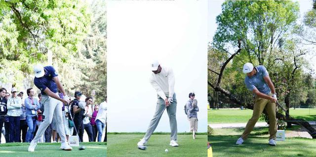 画像: 左から右軸タイプのダスティン・ジョンソン、センタータイプのタイガー、左軸タイプのデシャンボー(写真/姉崎正)