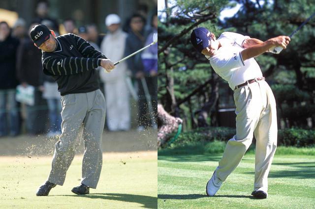 画像: 日本男子ツアーのロゴに描かれたフォローを取るゴルファーのシルエットは中嶋常幸(左、写真は2006年)と伊澤利光(右、写真は2001年)をモデルにデザインされたという