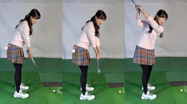 画像: 写真A:アドレス(左)から、手元の位置を動かさず、シャフトが地面と平行になるように手首のコックだけでクラブを上げる(中)。作った手首の角度をキープしながら、体の回転でクラブをトップまで上げていく(右)