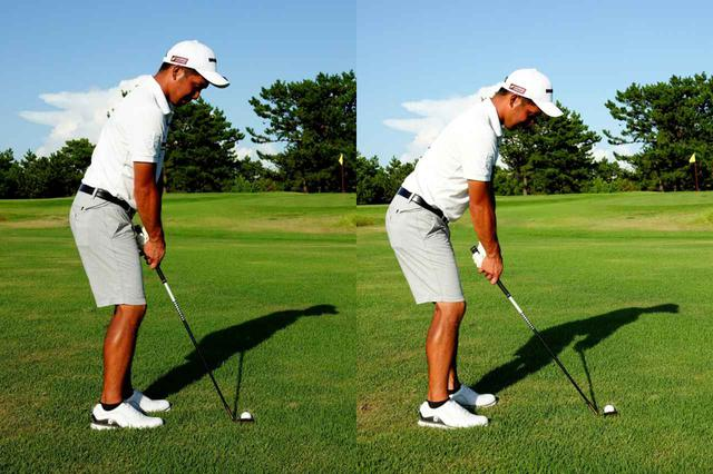 画像: できるだけボールと体の距離を近づけて構えるのが正解(左)。右のように離れすぎてしまうとミスの原因となる