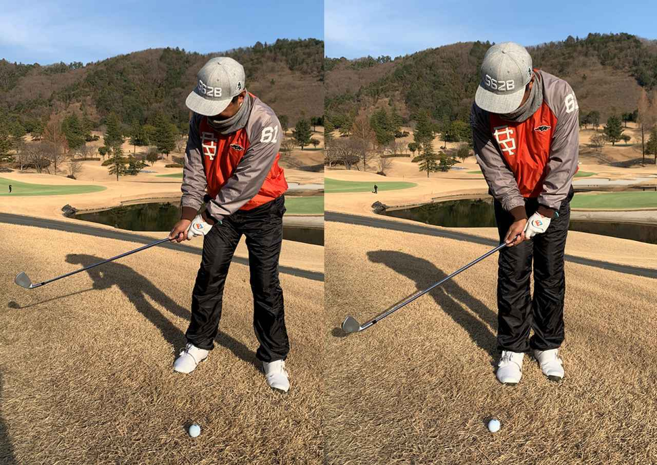 画像: (左)普通のアプローチは体を使ってテークバックをする。(右)海老原流の転がしアプローチはグリップ位置は固定したまま手首の動きだけでクラブを上げて下ろす