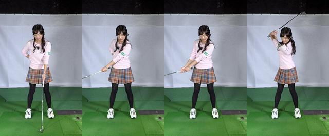 画像: スウィングの始動の動きをイメージしやすくするために動作を分けて練習するのも効果的だと小澤。まずは左手1本でクラブを持ってクラブを上げていき、左腕の二の腕が左胸に付いた段階たら、右手を添えてトップまでクラブを上げてみよう