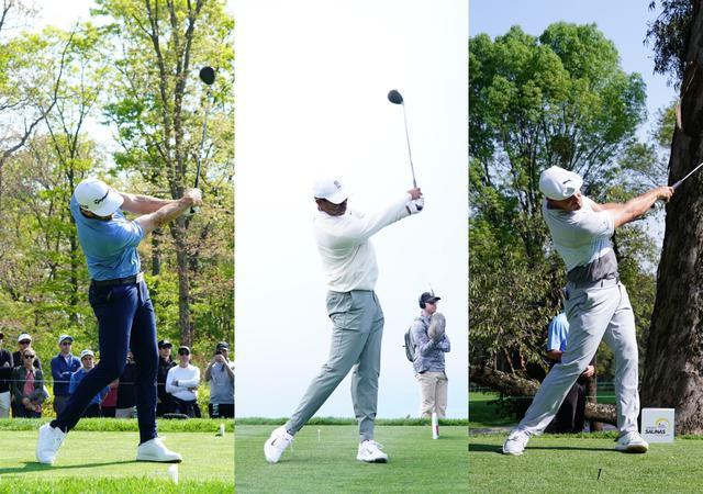 画像: 画像A 右軸タイプのダスティン・ジョンソンは右サイドの側屈が強く残り、センター軸タイプのタイガーは中間、左軸のデシャンボーは早めに右肩が上がり側屈の度合いは少ない(写真/姉崎正)