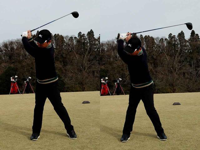 画像: 写真B:冬は寒さと厚着の影響でバックスウィングが回りにくくなる(左)、息を吐きながらバックスウィングするだけで捻転が深くなる(右)