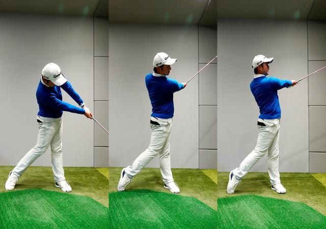 画像: 画像B 右軸タイプは肩が縦回転し右肩が下がるくらいの意識で振り抜き、センター軸はインパクト後に左へ重心を移動する分少し側屈は残る。左軸タイプは早いタイミングで右肩がボールの位置を通過し胸を反るように右肩も上がっていく