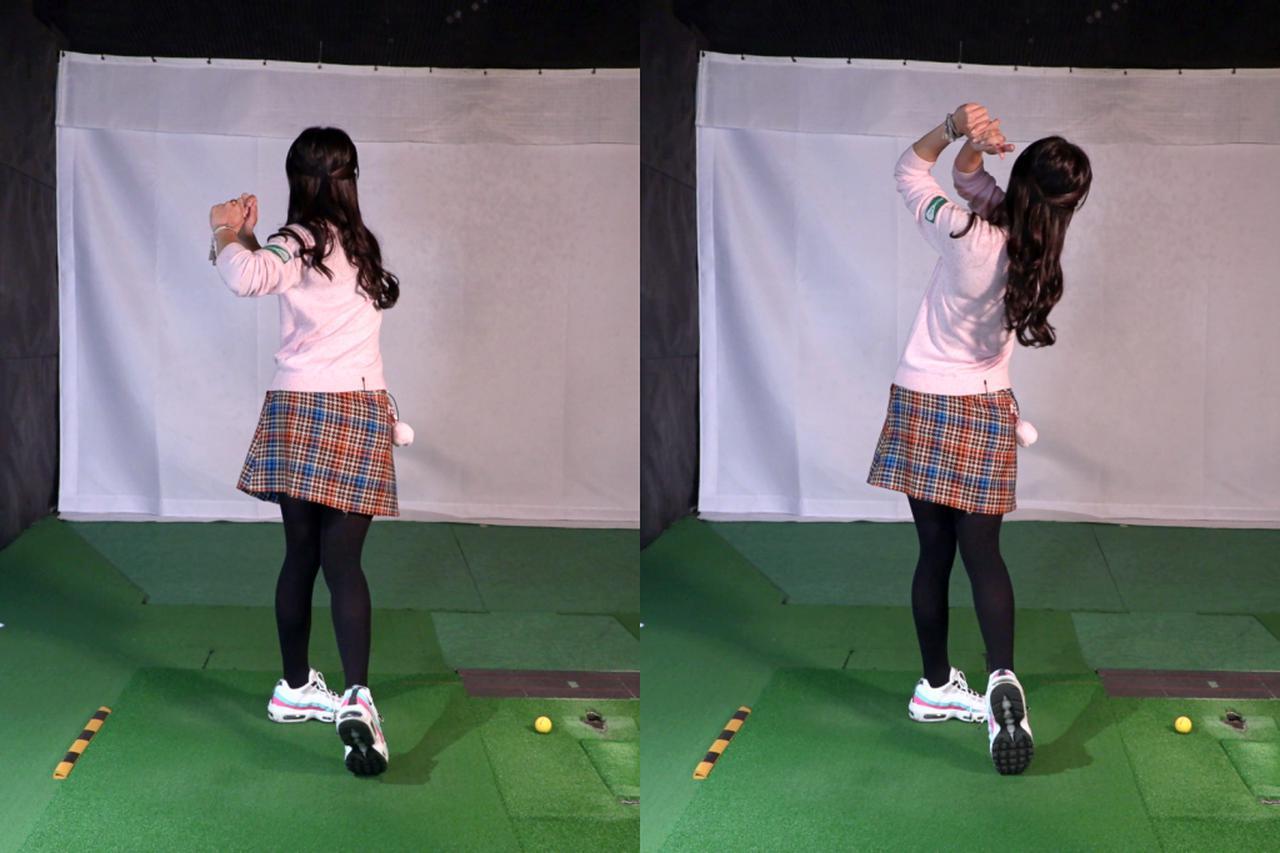 画像: 体の軸をキープしつつ振っていければ左ひじがきれいに畳まれ、手が高い位置に収まるフィニッシュに(右)。一方、体の軸が左サイドに突っ込んでしまうと、左ひじは引けてしまい手が低い位置に収まる悪いフィニッシュになってしまう(左)