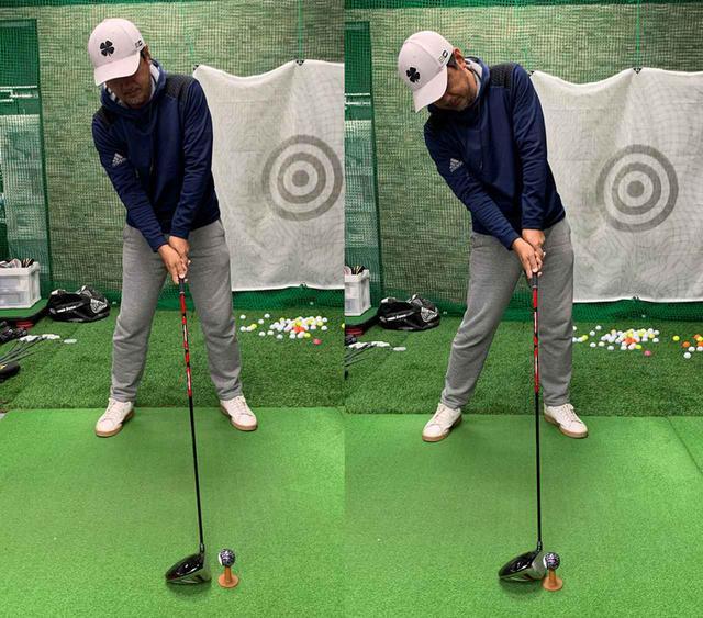 画像: みぞおちから上を右に傾けて構え、ボールを右下から叩くイメージだと、しっかりと顔も残ってアッパーにボールを捉えられるので飛距離が伸びる
