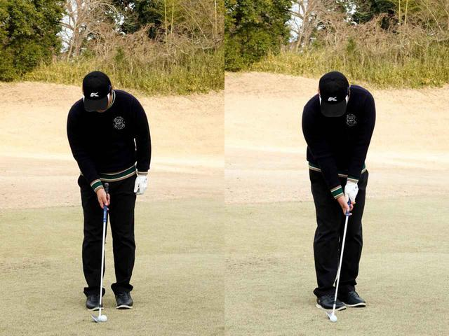 画像: 体の正面にボールを置いて体を45度左へ向けることでボールにコンタクトしやすいアドレスとなる
