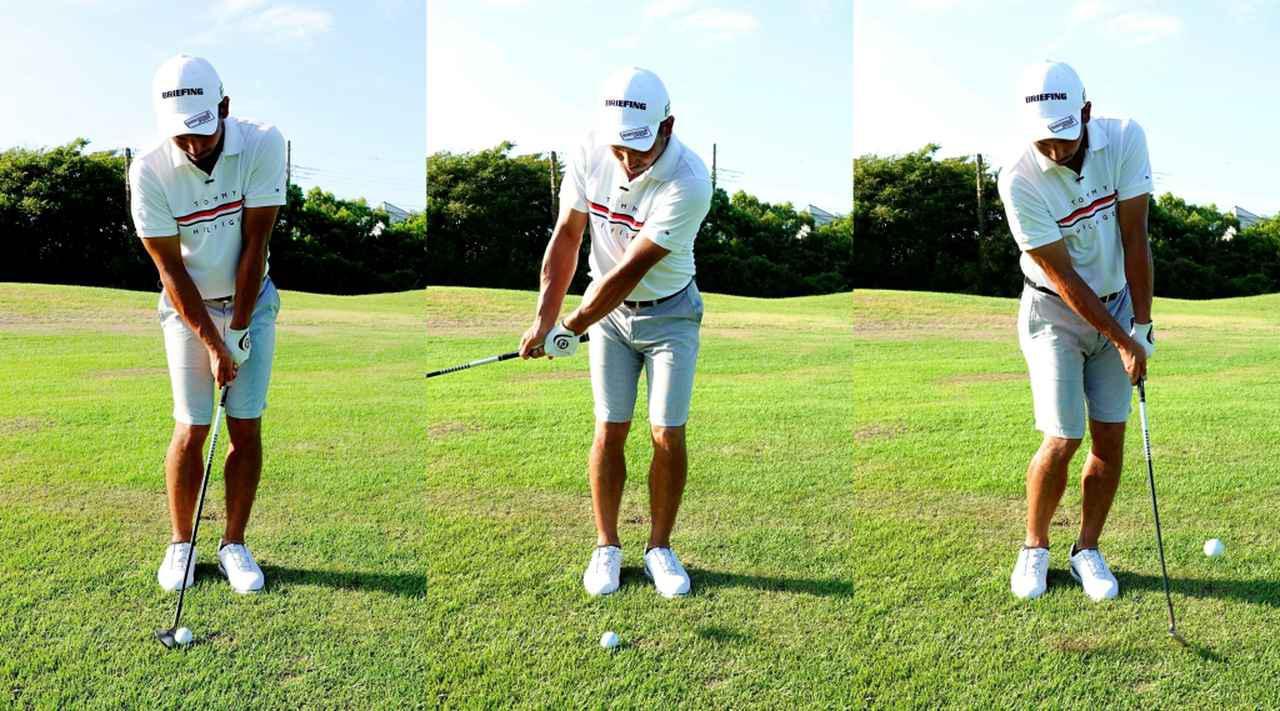 画像: 右肩に乗せたときに作られたフェースの向きをキープしたまま、ややハンドアップに構え(左)、体を回して打つ。フェースが閉じているぶんトウ側からボールにコンタクトするので、フェースの先の部分で引っかけるイメージで打ってみてくださいと伊澤