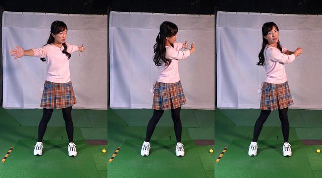 画像: フォロースルーで左ひじが引けるそもそもの原因は、体が左に突っ込んでいること。すると両腕で示したスウィングプレーンもターゲットより左側にズレてしまう(左)。この状態では右手が左手に届かなくなってしまう(中)ので、左ひじを引いて合わせてしまうわけだ(右)