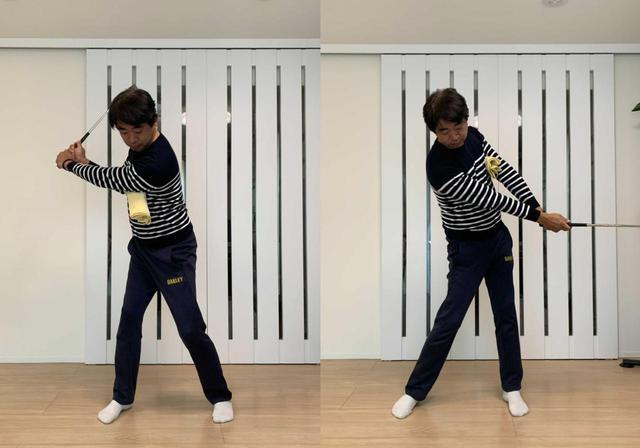 画像: 左わきにタオルを挟んで素振りをすると深いトップをつくることができ(写真左)、フォローでの左ひじの引けも直せる(写真右)