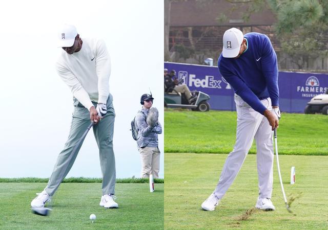 画像: クラブヘッドの最下点はドライバーではボールよりも手前になり(左)、アイアンではボールより先になる(写真/姉崎正)