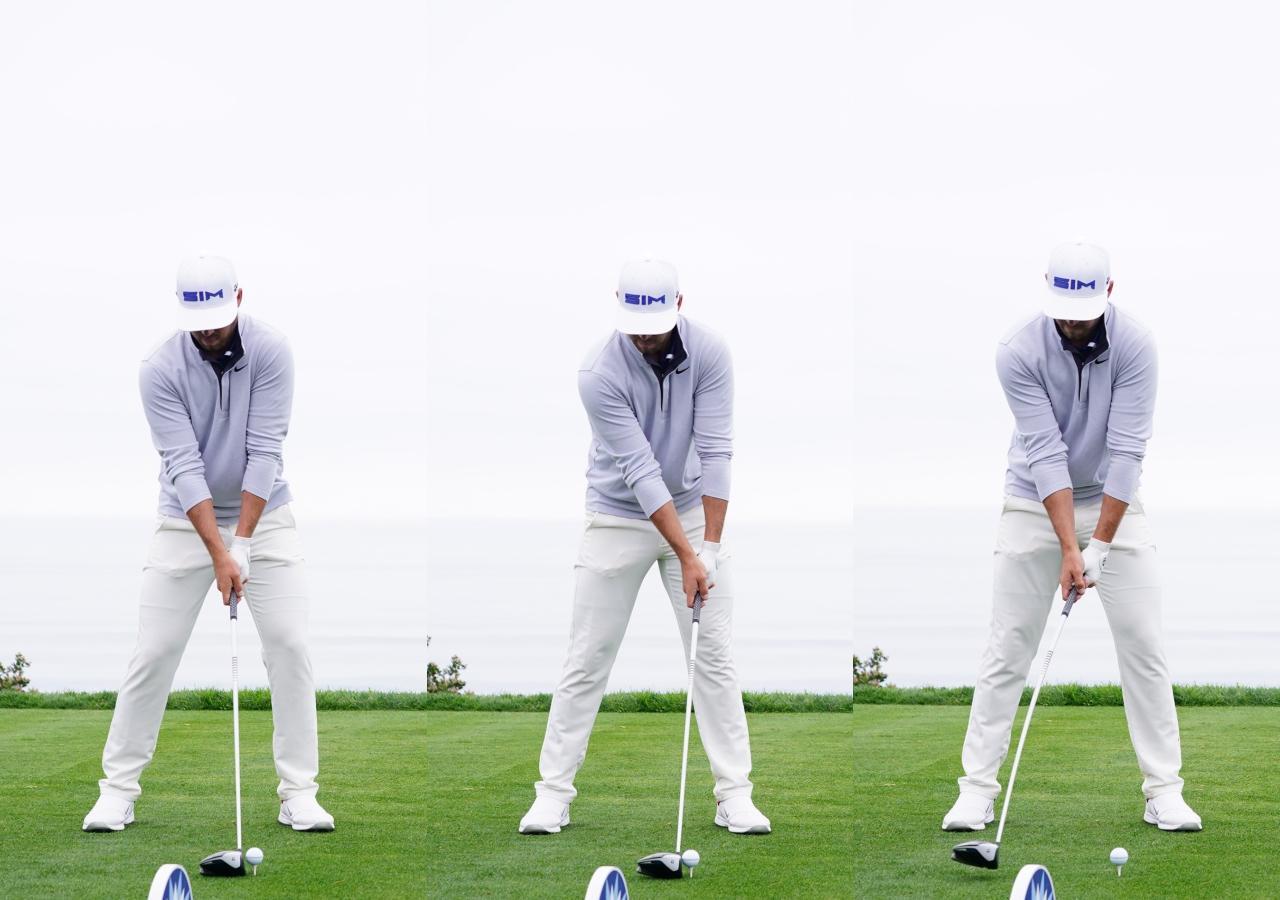画像: 画像A:マシュー・ウルフの始動を始動を見ると、アドレス時(左)から腰を回転させたあとに手元をターゲット方向に動かすフォワードプレスの動作が入ってから(中)テークバックしている(右)ことがわかる(写真/姉崎正)