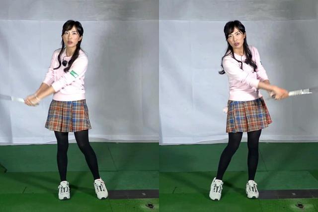 画像: 手首だけで行っていた振り子運動に、バックスウィングで右足(写真左)、ダウンスウィングで左足を踏み込む動き(写真右)を加えてみよう