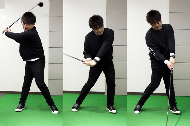 画像: HRスウィングにおけるトップからインパクトまでの体の動き。左足はハーフウェイダウンで前に振り出され、インパクトでは右腰が前に出ている