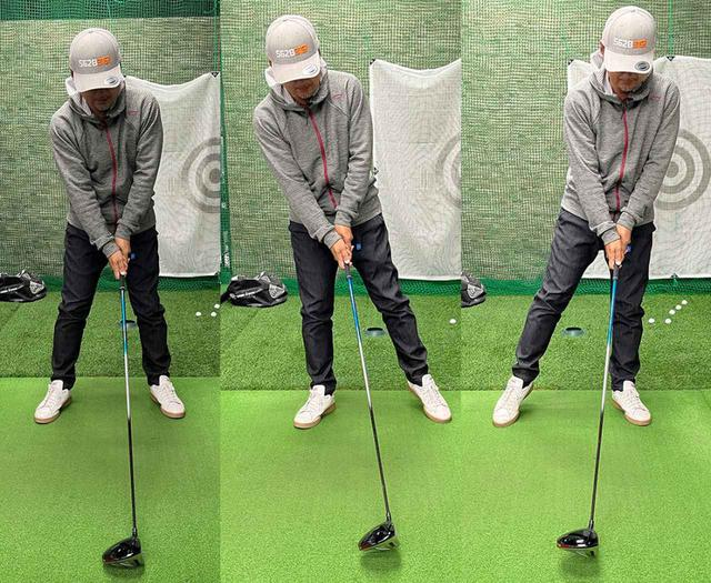 画像: まずは右に体を傾け、次に左。体重がかかってない方の足が浮くくらい体を傾けます
