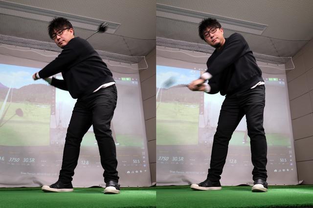 画像: HRスウィングにおける切り返しからハーフウェイダウンまでの動き。左のお尻が後ろに下がっていくのが見て取れる