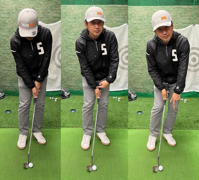 画像: ボールを体の真ん中に置いて、左股関節前に左手が来るように構えたときの右手首の角度をキープ。アプローチ中はずっと左足体重を保つ