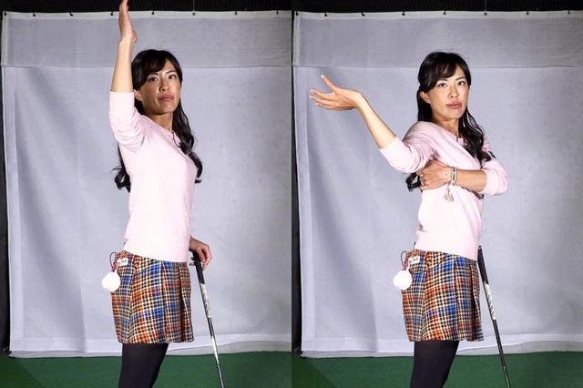 画像: 写真左のように右腕を上げた状態から、後方へ動かす(右)ストレッチがどこでも簡単にできてオススメだと小澤