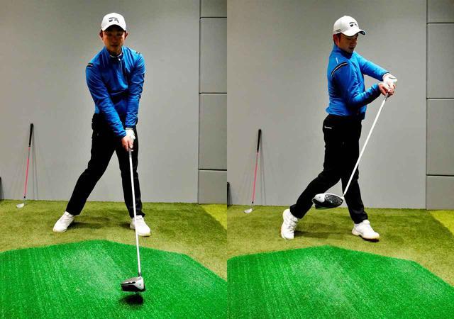 画像: 体の回転量と腕の運動量をマッチさせるためにも、体を頑張って回そうとしてしまう人(写真右)は腕を振る感覚を持つことも大切(写真左)