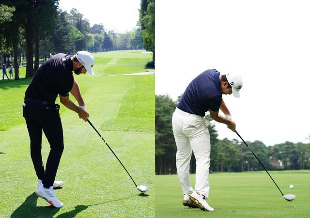 画像: ダスティン・ジョンソン(左)と中島啓太(右)のインパクト画像は驚くほどよく似ている(写真/姉崎正)