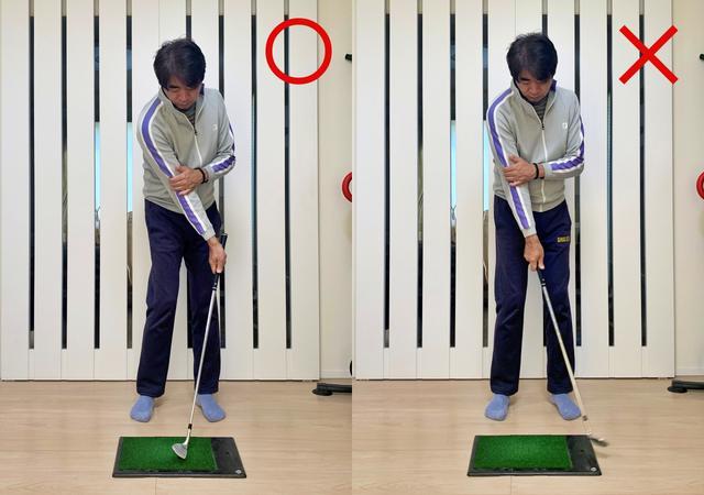 画像: 画像B 手首を使ってフェースを返す動きはNG。体の回転で手元を引っ張る感覚がつかめるはずだ